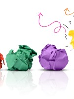 crumpled paper bulbs